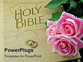 PowerPoint template displaying cream colored Holy Bible with two wedding rings and pink roses