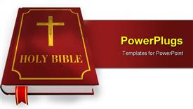 PowerPoint template displaying a large red colored holy bible over a white surface