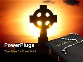 Holy cross on a stone and sunset powerpoint design layout