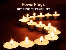 PowerPoint template displaying chain of lit votive candles with flames, spa, religion, memorial