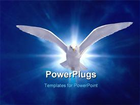Holy Spirit Bird on Royal Blue Starburst Background powerpoint design layout