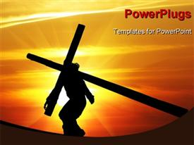 PowerPoint template displaying human holding the crucifix against sunset