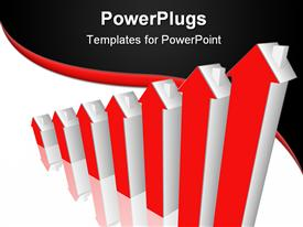 PowerPoint template displaying seven red and silver colored bars with house heads