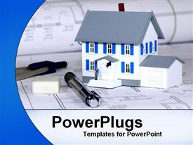 PowerPoint template displaying house model on construction drawings blueprints and construction engineer tools