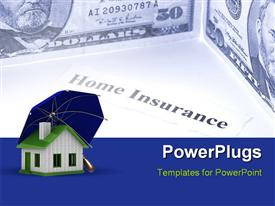 PowerPoint template displaying insurance of habitation. Isolated 3D depiction in the background.