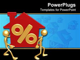 PowerPoint template displaying two gold plated men join hands to carry red house with percentage sign