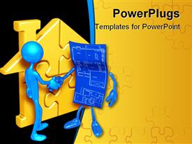 PowerPoint template displaying two 3D human characters having a handshake with a yellow puzzle house beside them