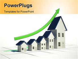 4D illustration of a graph with home sales going up template for powerpoint