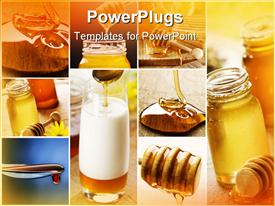 PowerPoint template displaying nine different displays showing honey in different places and forms