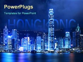 PowerPoint template displaying victoria harbor of Hong Kong at night in the background.