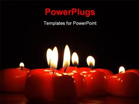 On photo of the candle in the form heart powerpoint design layout