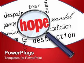 PowerPoint template displaying magnifying glass emphasizes Hope in word cloud filled with negative terms