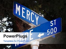 PowerPoint template displaying a sign post with two big blue sign boards