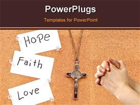 PowerPoint template displaying rosary with paper tags HOPE, FAITH and LOVE and hands clasped