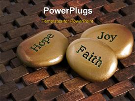 PowerPoint template displaying gold inspiration stones. Etched with the words Hope Faith: and Joy in the background.