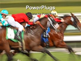Abstract blur of racing horses and jockeys powerpoint design layout