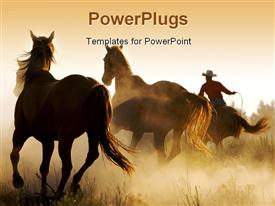 PowerPoint template displaying a number of horses in the wild