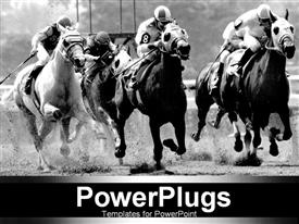 B/w picture of horses racing template for powerpoint