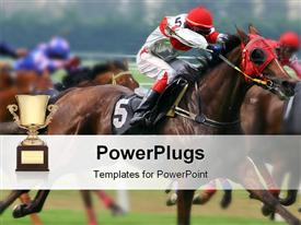 PowerPoint template displaying several horses racing in green field with trophy in background