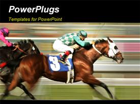 Motion blur of racing jockey and thoroughbred horse powerpoint design layout