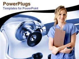 PowerPoint template displaying smiling nurse holding patient's record pencil, stethoscope background