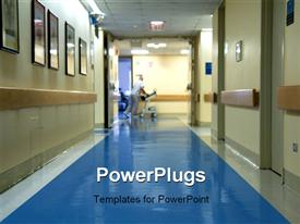 PowerPoint template displaying hospital corridor blurred figure nurse moving hospital equipment