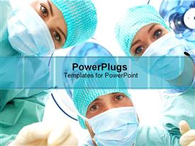 PowerPoint template displaying three inquisitive surgeons looking answers