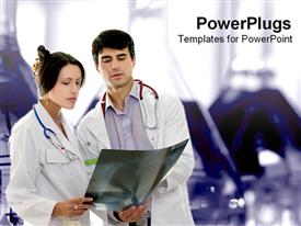 PowerPoint template displaying male and female doctors discuss patient x-ray
