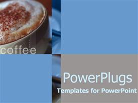 PowerPoint template displaying close-up of froth and cinnamon on cappuccino in cu in the background.