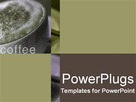 PowerPoint template displaying close up cup coffee froth cinnamon word coffee