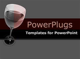 PowerPoint template displaying close-up of red wine in glass on black & burgundy in the background.