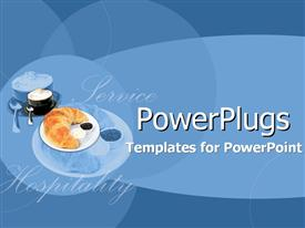 PowerPoint template displaying crescent roll on white plate next to bowl of hot cereal