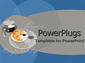 PowerPoint template displaying depiction kitchen utensils food hospitality service text