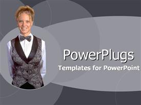 PowerPoint template displaying plain ash colored tile smiling lady