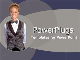 PowerPoint template displaying pretty smiling lady over ash colored background