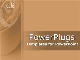 PowerPoint template displaying cafe written thick coffee brown background