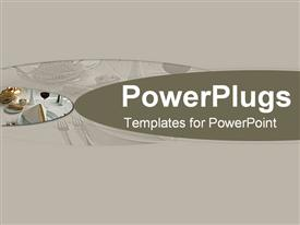 PowerPoint template displaying grey background hint dinner table settings