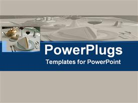 PowerPoint template displaying fine dining table place settings, hospitality