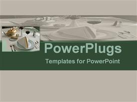 PowerPoint template displaying depiction white background cutlery's, saucer cups