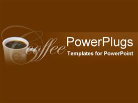 PowerPoint template displaying white porcelain cup of black coffee on chocolate b
