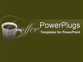 PowerPoint template displaying deep green background white coffee mug side