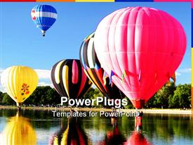 PowerPoint template displaying number gas balloons lake
