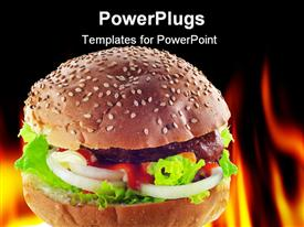 Hamburger with a hot fire background presentation background