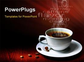 PowerPoint template displaying a cup of hot coffee with reddish background