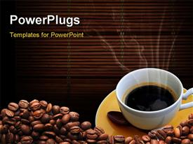 PowerPoint template displaying a coffee cup with a number of coffee beans