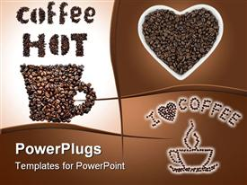 PowerPoint template displaying collage of hot coffee depictions of coffee cup made of coffee beans, coffee beans in heart shaped cup and coffee cup and I love coffee with heart made of coffee beans
