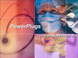 PowerPoint template displaying collage of two surgeons, stethoscope and container of spilled pills