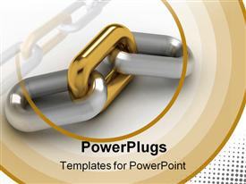 PowerPoint template displaying silver chain with outstanding gold link, brown concentric circles
