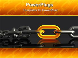 PowerPoint template displaying glowing gold link in steel chain, orange chain border