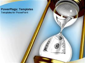 Hourglass with money twisting through powerpoint design layout